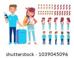 man and woman with luggage in... | Shutterstock .eps vector #1039045096