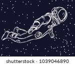 the astronaut flies in space.... | Shutterstock .eps vector #1039046890