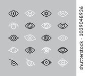 human eye line icons. eyesight... | Shutterstock .eps vector #1039048936