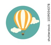 orange hot air balloon flying... | Shutterstock .eps vector #1039054378