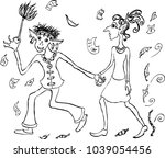 a couple of the happy fairytale ... | Shutterstock .eps vector #1039054456