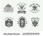 set of vintage snowboarding ... | Shutterstock .eps vector #1039059499