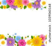 Flowers Frame White Background...