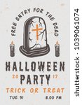 vintage retro halloween scary... | Shutterstock .eps vector #1039061074