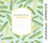 green and golden zucchini. text ... | Shutterstock .eps vector #1039063120