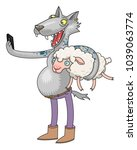 wolf grab a sheep and doing a... | Shutterstock .eps vector #1039063774