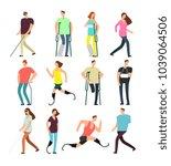 disabled persons vector cartoon ... | Shutterstock .eps vector #1039064506