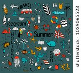 background with summer set of... | Shutterstock .eps vector #1039065523