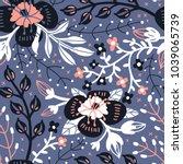 vector floral seamless pattern...   Shutterstock .eps vector #1039065739