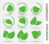 green leaf icons set on white... | Shutterstock .eps vector #1039068043