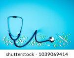 stethoscope  thermometer  pills ...   Shutterstock . vector #1039069414