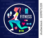 woman fitness. workout girl.... | Shutterstock .eps vector #1039071220