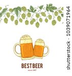 seamless border with hops and... | Shutterstock .eps vector #1039071964