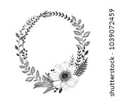 hand drawn wreath of branches... | Shutterstock .eps vector #1039072459