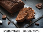 chocolate pound cake with... | Shutterstock . vector #1039075093