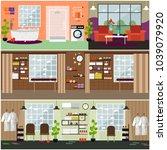 set of spa interior flat... | Shutterstock . vector #1039079920