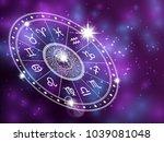 horoscope circle on shiny... | Shutterstock .eps vector #1039081048