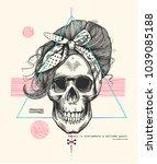women's skeleton skull in pop... | Shutterstock .eps vector #1039085188