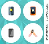 icon flat phone set of message  ...   Shutterstock . vector #1039086688