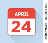 april 24 calendar icon flat red.... | Shutterstock .eps vector #1039091158