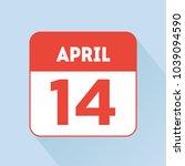 april 14 calendar icon flat red.... | Shutterstock .eps vector #1039094590