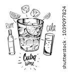 alcohol cocktail. whiskey  rum  ... | Shutterstock .eps vector #1039097824