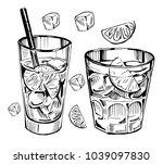 alcohol cocktail. whiskey  rum  ... | Shutterstock .eps vector #1039097830