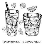 alcohol cocktail. whiskey  rum  ... | Shutterstock .eps vector #1039097830