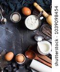 preparation baking kitchen... | Shutterstock . vector #1039098454