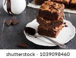 chocolate brownie cake piece... | Shutterstock . vector #1039098460