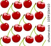 seamless background  cherry on... | Shutterstock . vector #1039106410