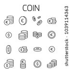 coin related vector icon set.... | Shutterstock .eps vector #1039114363