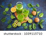 healthy green smoothie with... | Shutterstock . vector #1039115710
