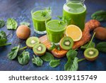healthy green smoothie with... | Shutterstock . vector #1039115749