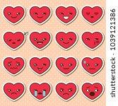 vector set of heart emoji....   Shutterstock .eps vector #1039121386