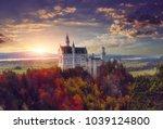 the famous neuschwanstein...   Shutterstock . vector #1039124800