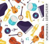 jazz music seamless pattern...   Shutterstock .eps vector #1039125319