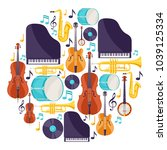 background with musical... | Shutterstock .eps vector #1039125334