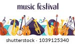 jazz music festival banner with ... | Shutterstock .eps vector #1039125340