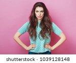 portrait of displeased upset... | Shutterstock . vector #1039128148