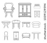 furniture and interior outline... | Shutterstock .eps vector #1039129594
