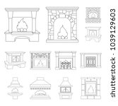 different kinds of fireplaces... | Shutterstock .eps vector #1039129603