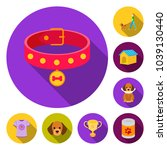 pet dog flat icons in set... | Shutterstock .eps vector #1039130440