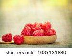 fresh raspberry background | Shutterstock . vector #1039131880