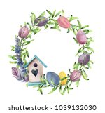Watercolor Spring Wreath With...