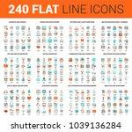 vector set of 240 64x64 pixel... | Shutterstock .eps vector #1039136284