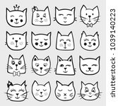 set of vector funny  baby cats... | Shutterstock .eps vector #1039140223