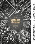 italian cuisine top view frame. ... | Shutterstock .eps vector #1039141576
