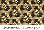 interlocking wooden and golden... | Shutterstock . vector #1039141774