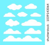 cloud vector icon set white... | Shutterstock .eps vector #1039143064